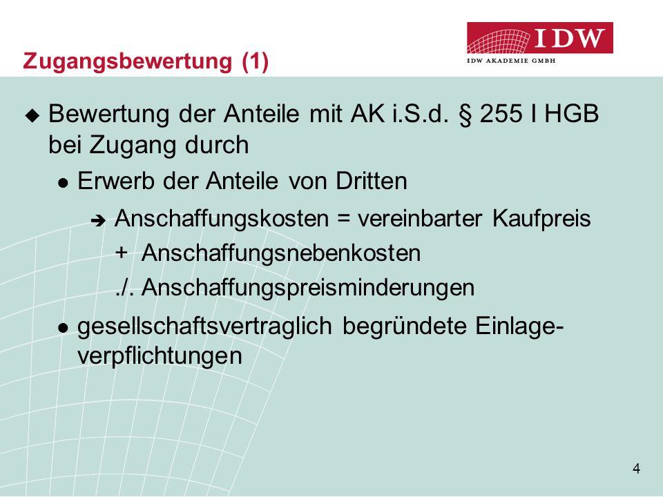 Bewertung der Anteile mit AK i.S.d. § 255 I HGB bei Zugang durch