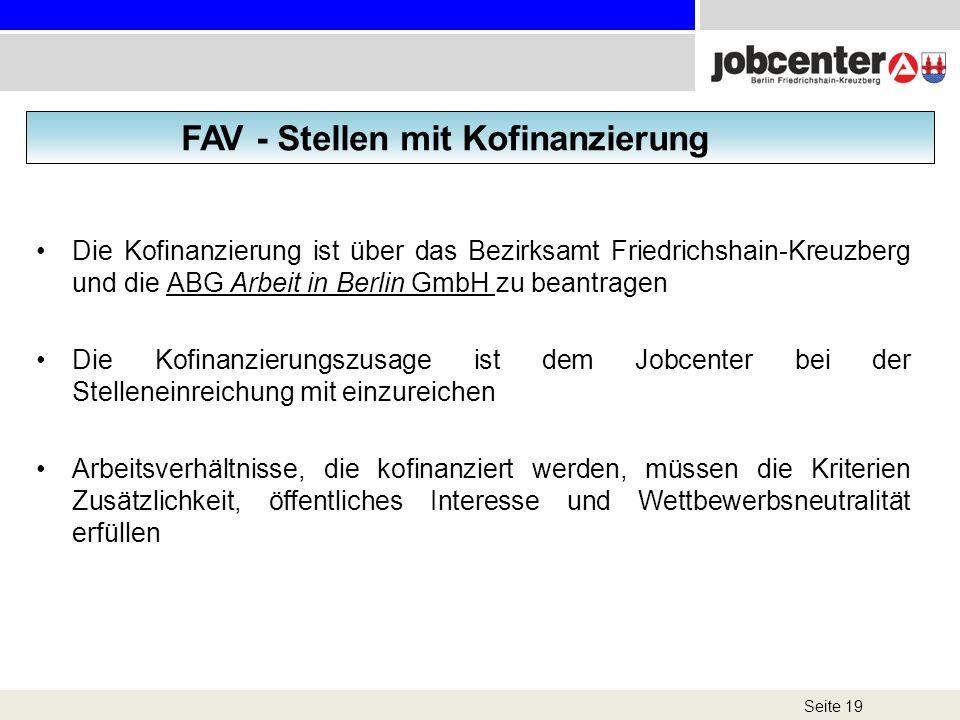 FAV - Stellen mit Kofinanzierung
