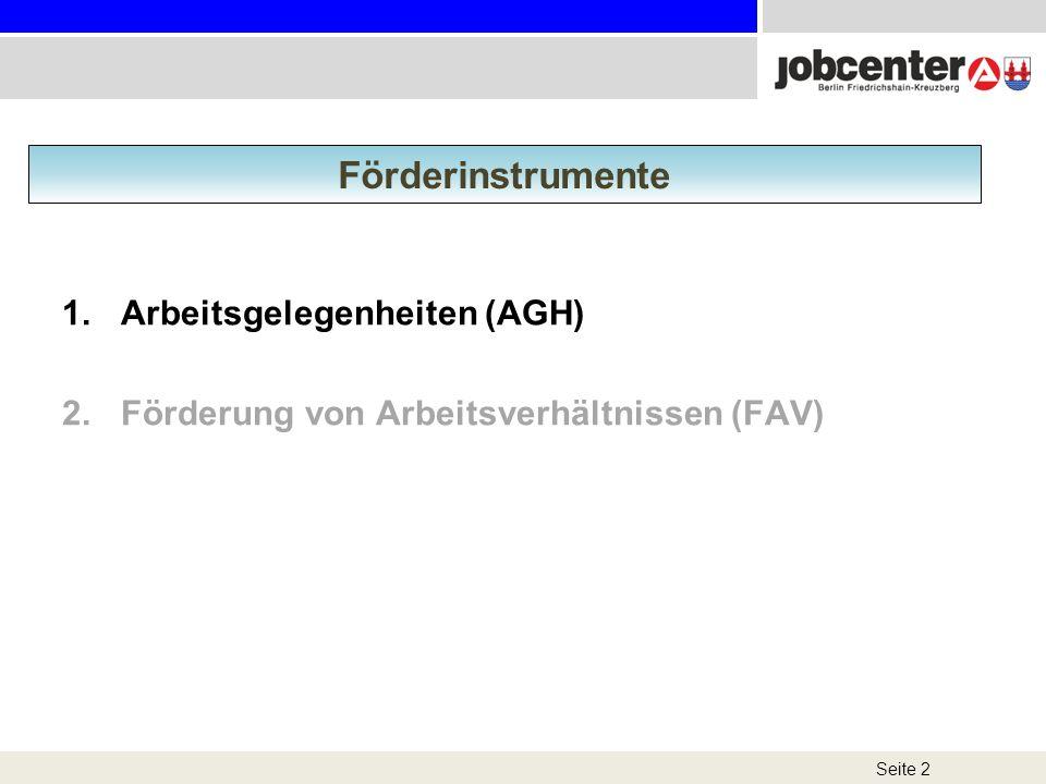 Förderinstrumente Arbeitsgelegenheiten (AGH)