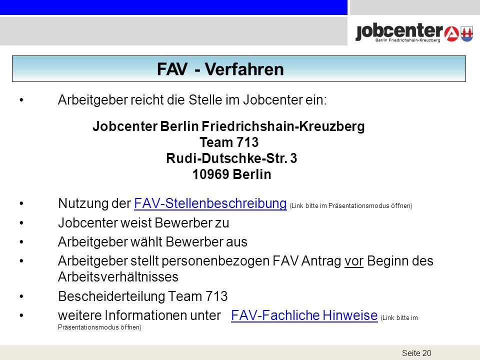 FAV - Verfahren Arbeitgeber reicht die Stelle im Jobcenter ein: