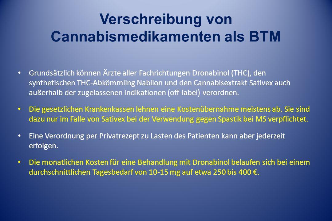 Verschreibung von Cannabismedikamenten als BTM