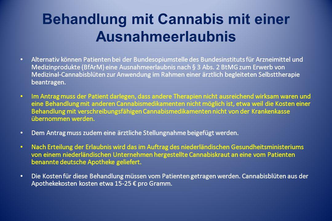 Behandlung mit Cannabis mit einer Ausnahmeerlaubnis