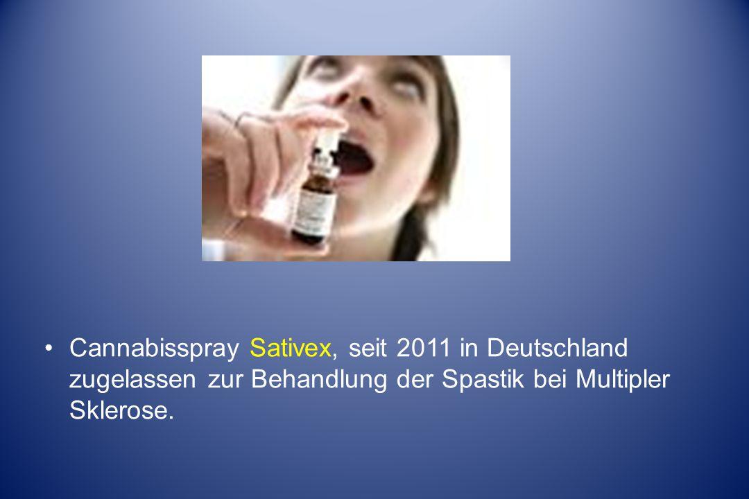 Cannabisspray Sativex, seit 2011 in Deutschland zugelassen zur Behandlung der Spastik bei Multipler Sklerose.