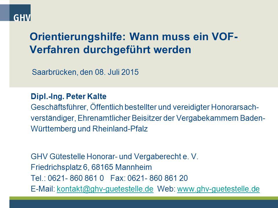 Orientierungshilfe: Wann muss ein VOF-Verfahren durchgeführt werden