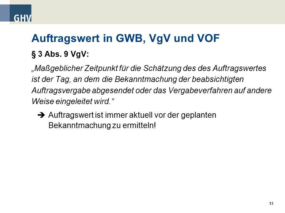 Auftragswert in GWB, VgV und VOF