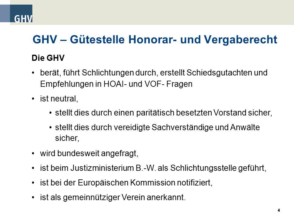GHV – Gütestelle Honorar- und Vergaberecht