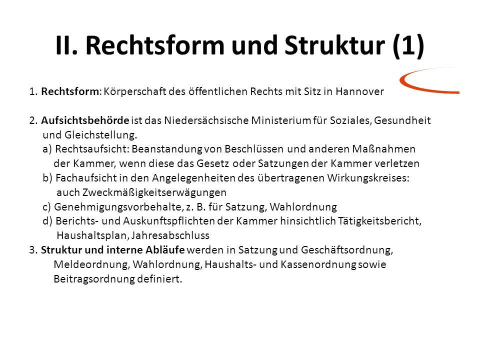 II. Rechtsform und Struktur (1)
