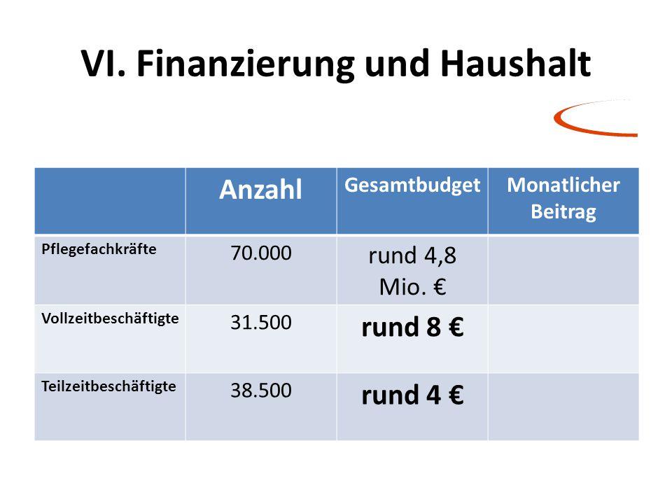 VI. Finanzierung und Haushalt