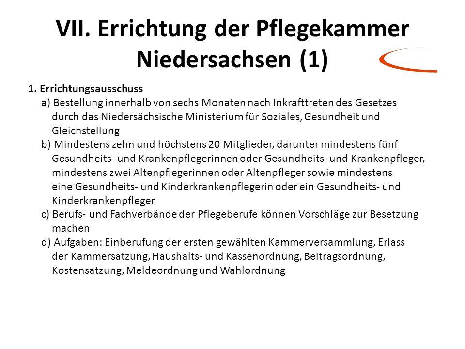 VII. Errichtung der Pflegekammer Niedersachsen (1)