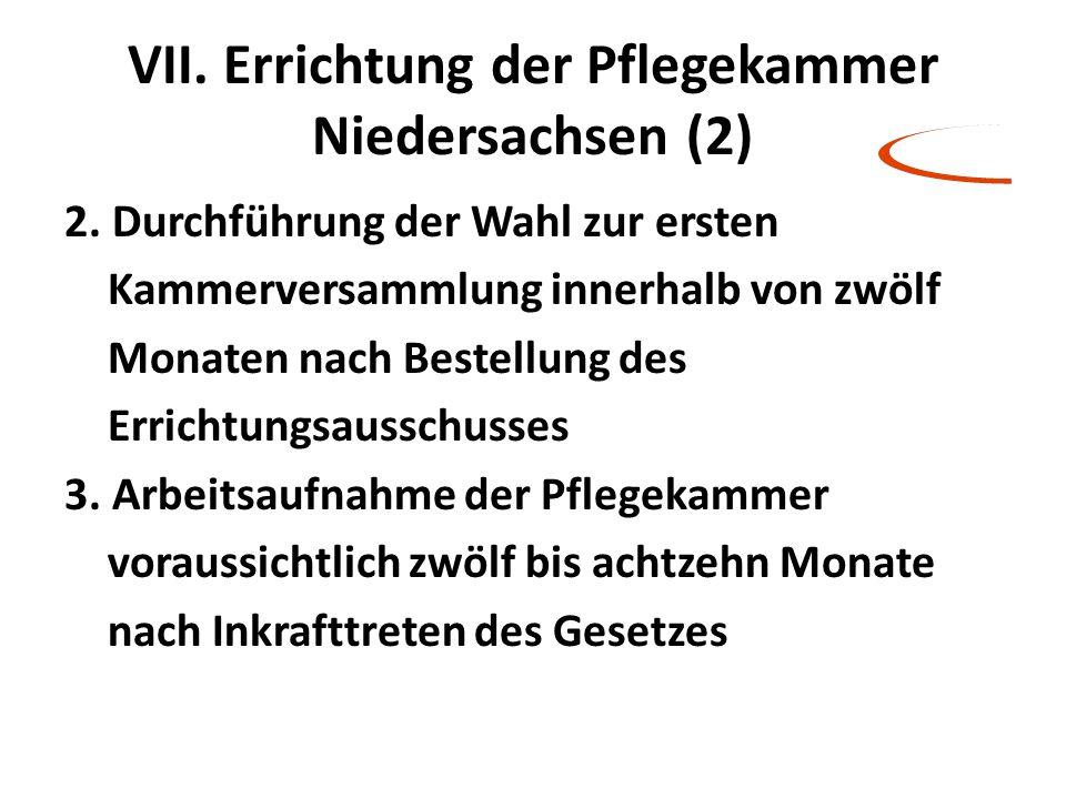VII. Errichtung der Pflegekammer Niedersachsen (2)