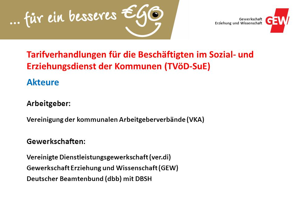 Tarifverhandlungen für die Beschäftigten im Sozial- und Erziehungsdienst der Kommunen (TVöD-SuE) Akteure