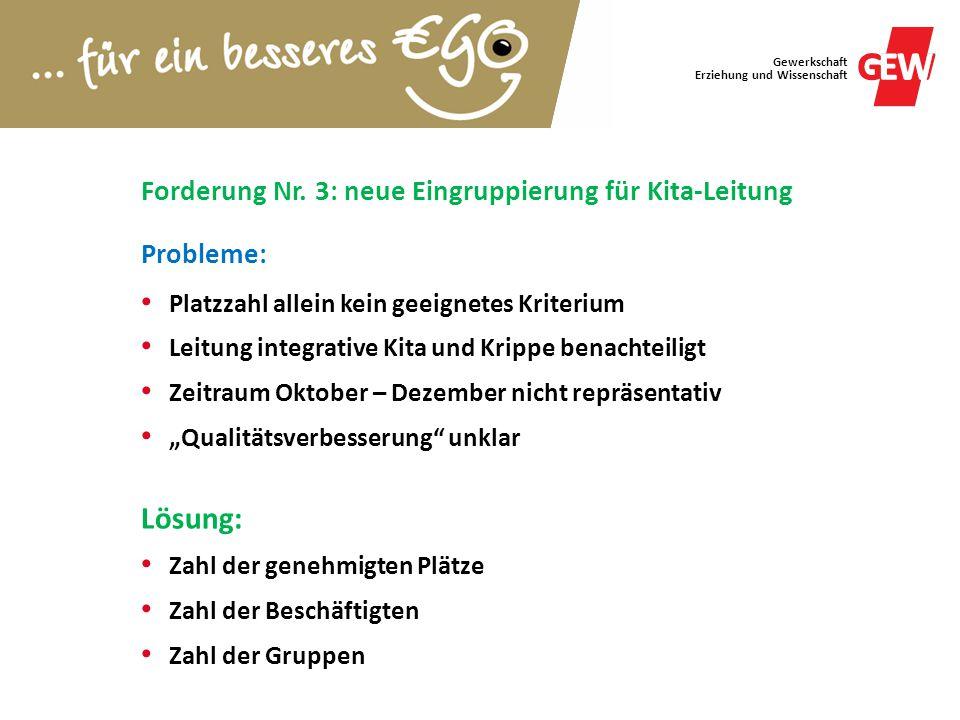 Forderung Nr. 3: neue Eingruppierung für Kita-Leitung