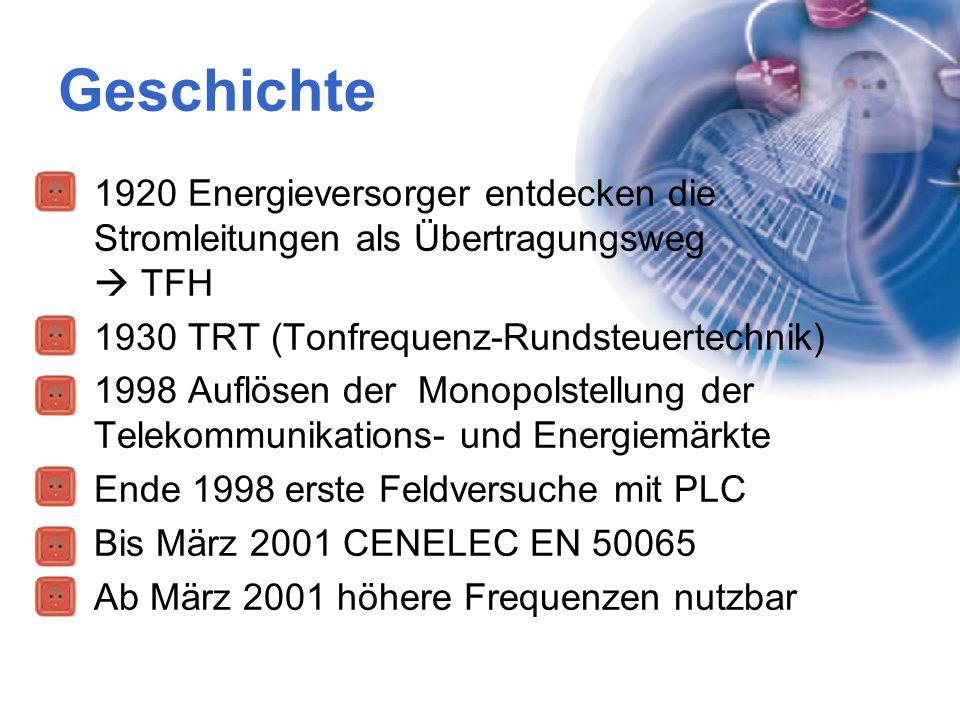 Geschichte 1920 Energieversorger entdecken die Stromleitungen als Übertragungsweg  TFH.