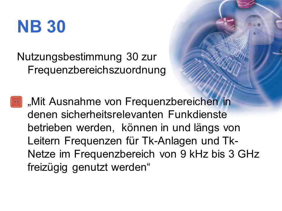 NB 30 Nutzungsbestimmung 30 zur Frequenzbereichszuordnung