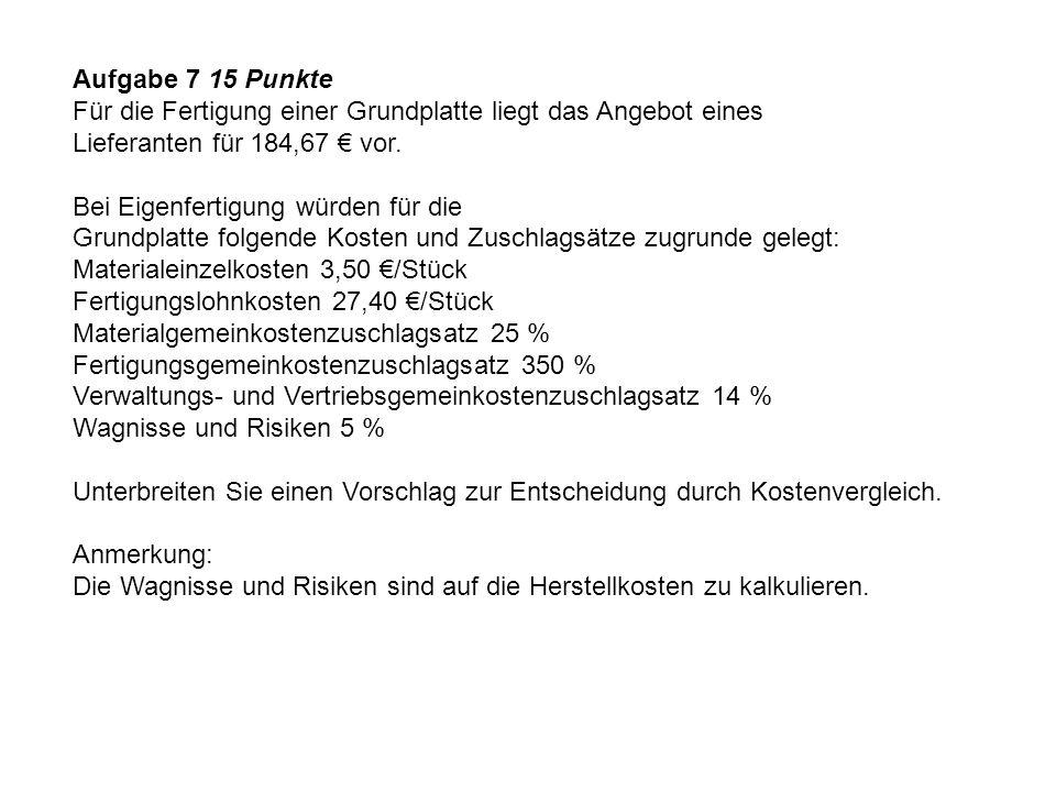 Aufgabe 7 15 Punkte Für die Fertigung einer Grundplatte liegt das Angebot eines. Lieferanten für 184,67 € vor.