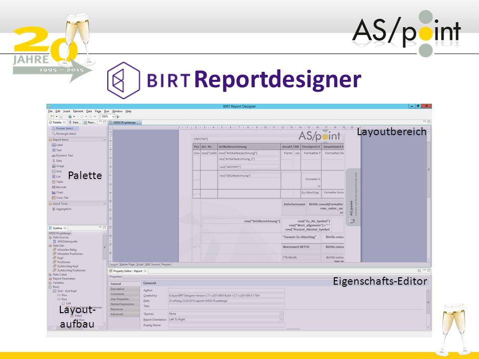 Reportdesigner Palette Layoutbereich Layout- aufbau
