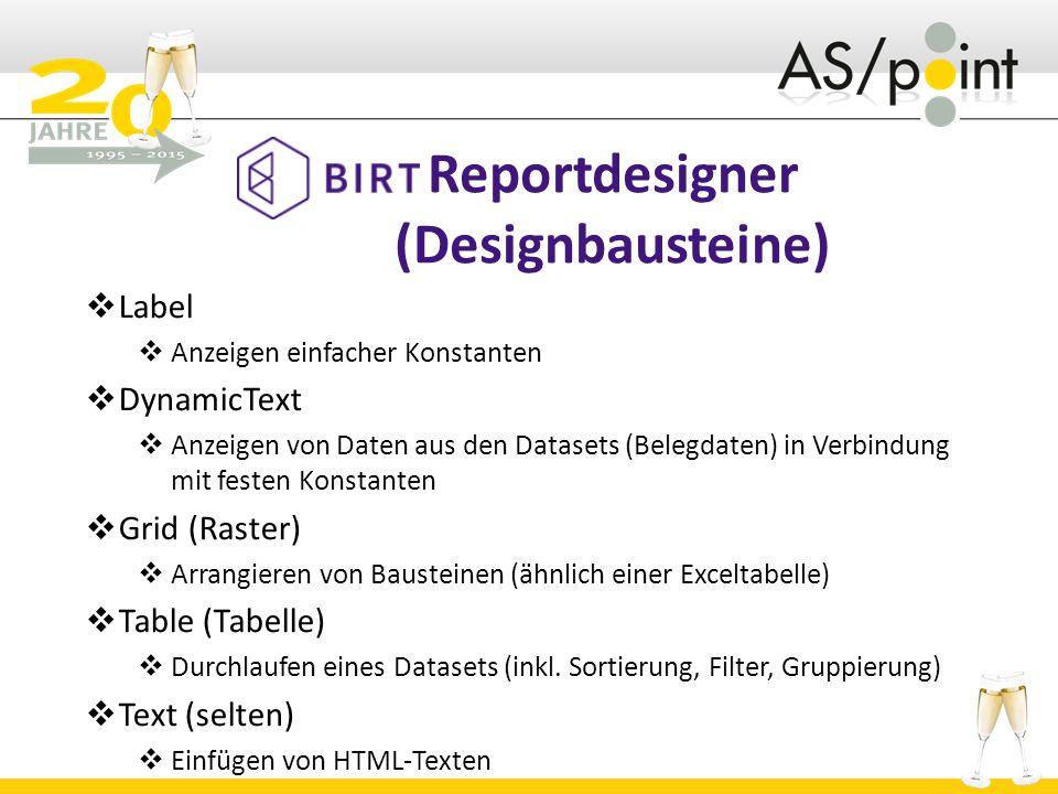 Reportdesigner (Designbausteine)