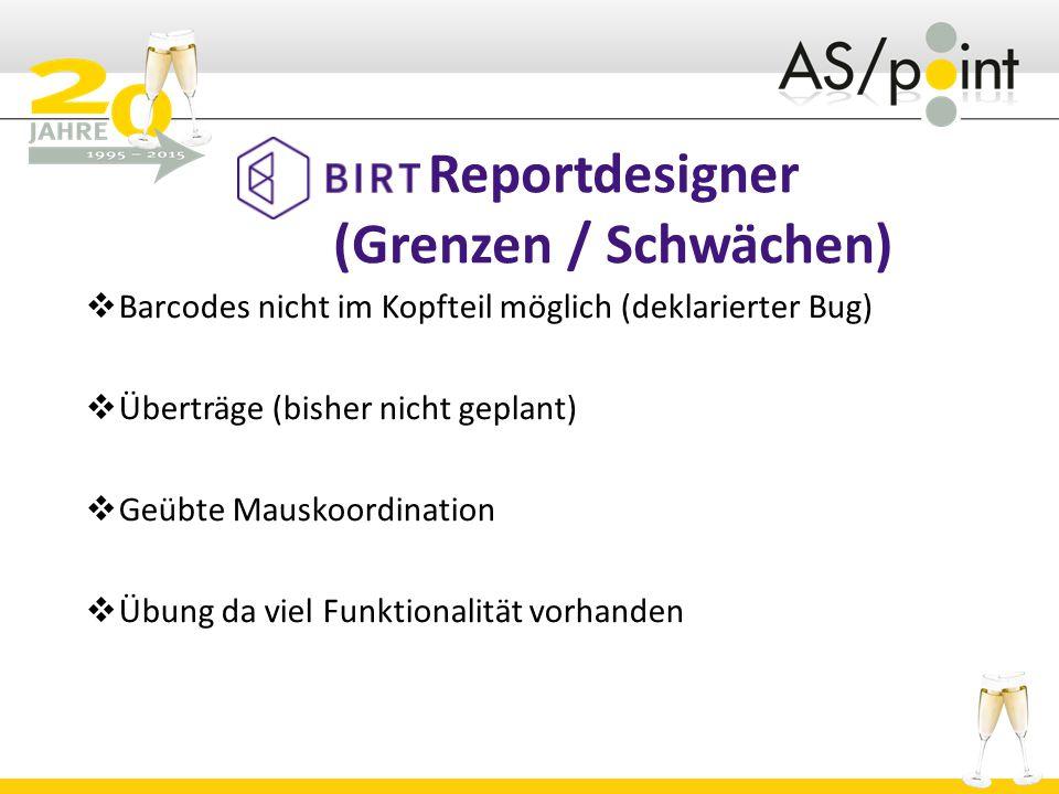 Reportdesigner (Grenzen / Schwächen)