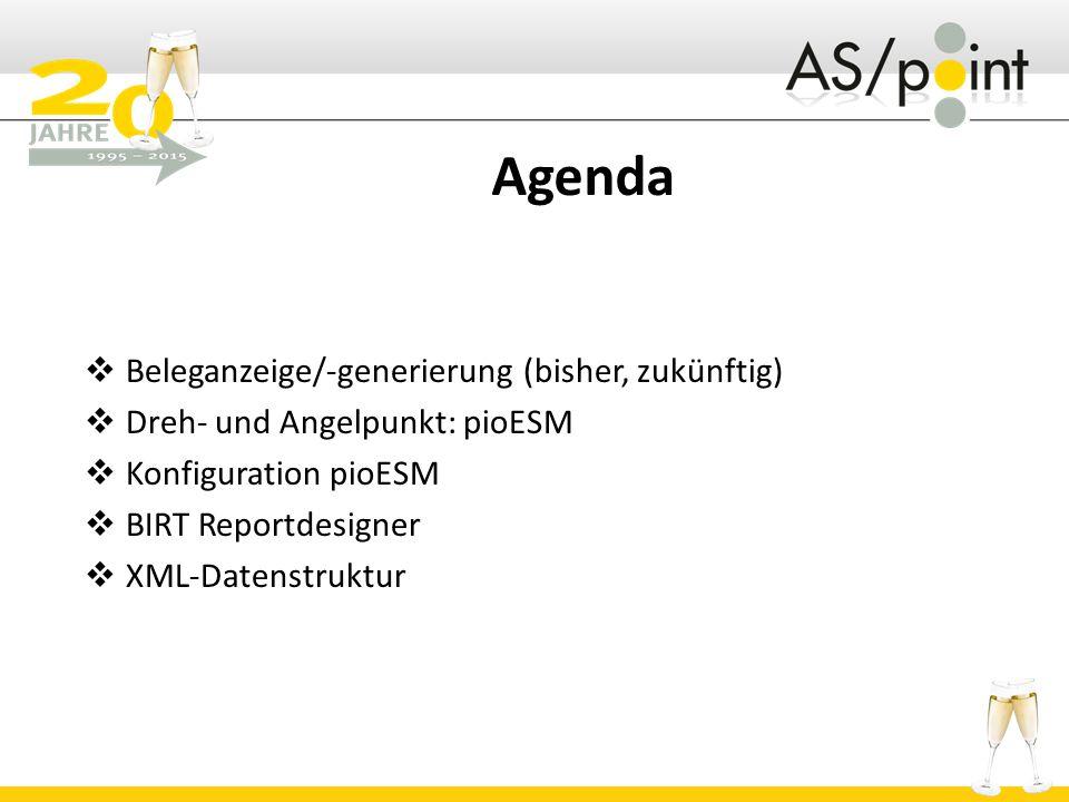 Agenda Beleganzeige/-generierung (bisher, zukünftig)