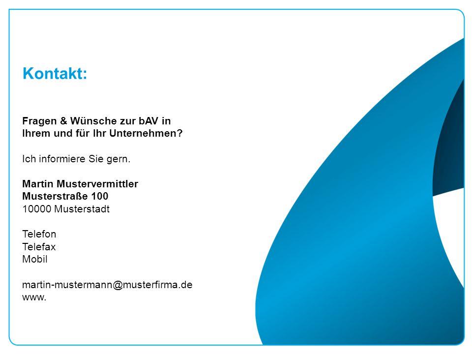 Kontakt: Fragen & Wünsche zur bAV in Ihrem und für Ihr Unternehmen