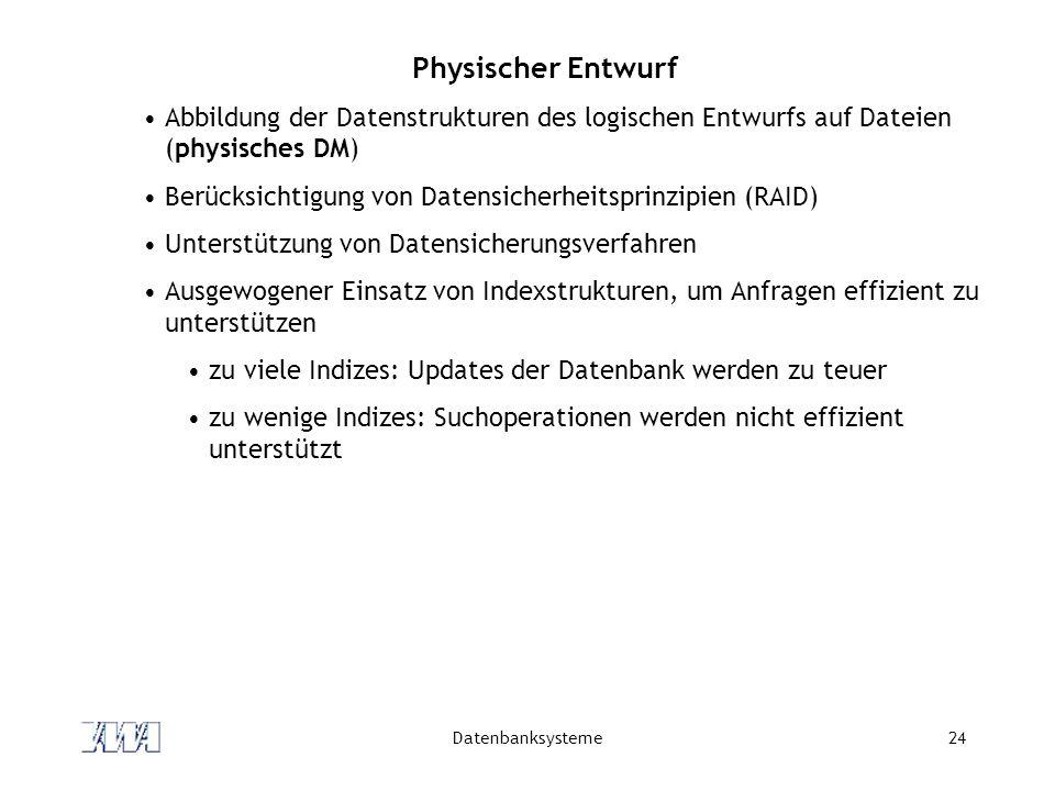 Physischer Entwurf Abbildung der Datenstrukturen des logischen Entwurfs auf Dateien (physisches DM)