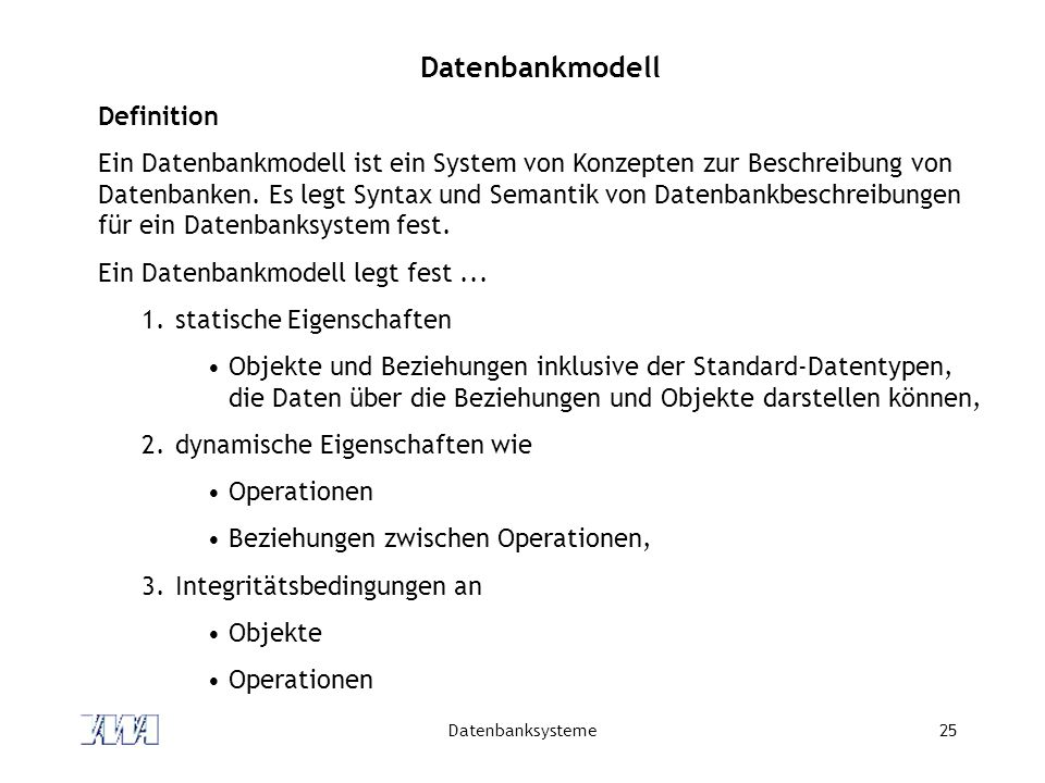 Datenbankmodell Definition