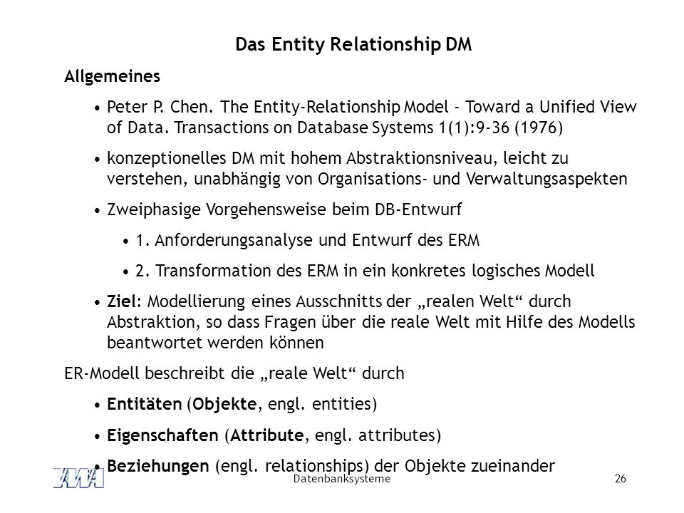 the entity relationship model toward