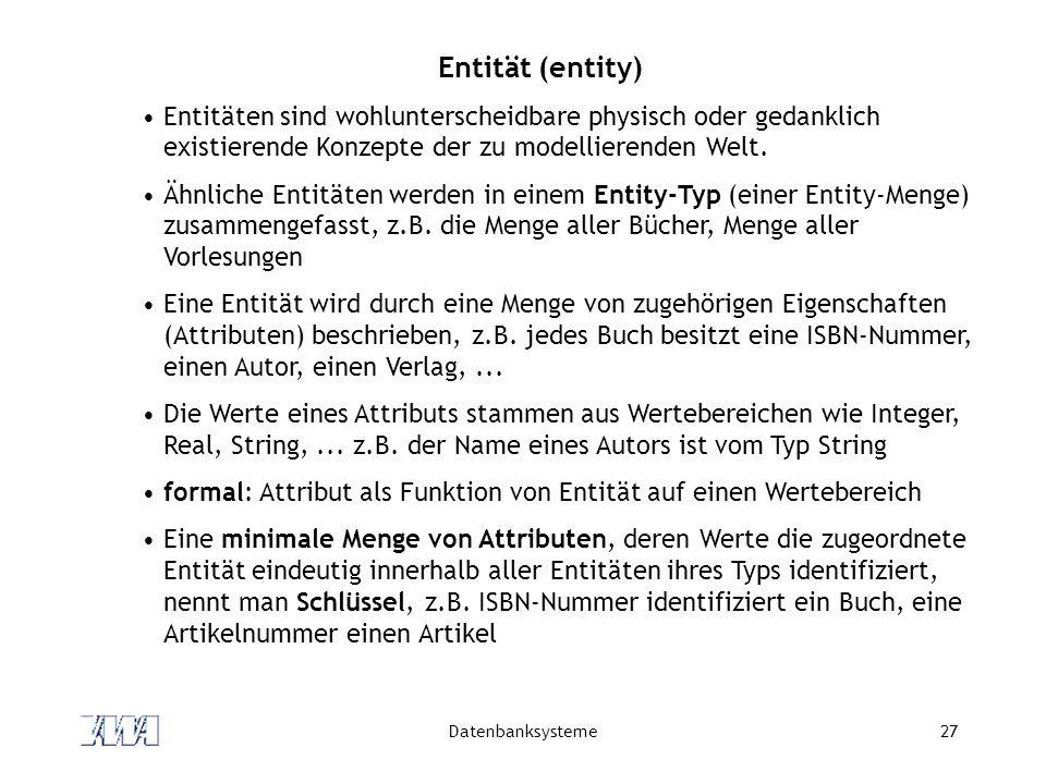 Entität (entity) Entitäten sind wohlunterscheidbare physisch oder gedanklich existierende Konzepte der zu modellierenden Welt.
