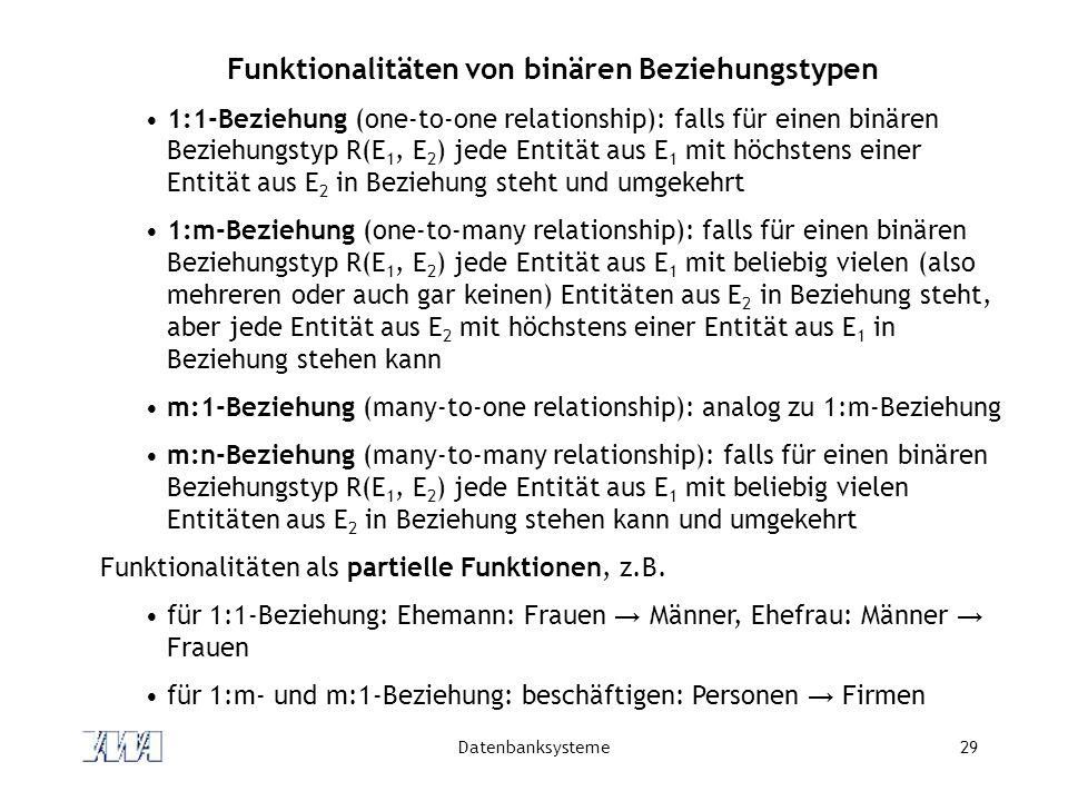 Funktionalitäten von binären Beziehungstypen