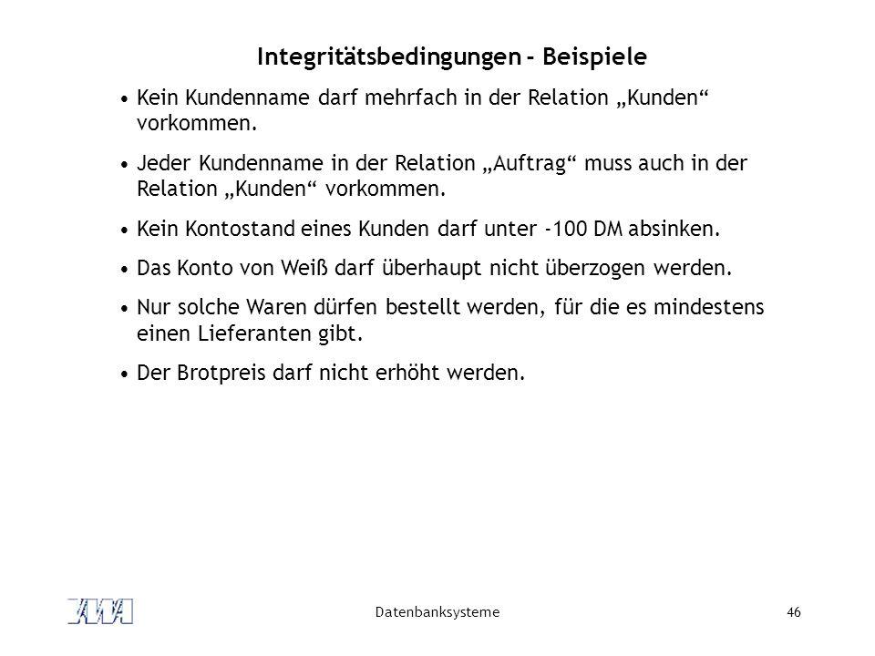 Integritätsbedingungen - Beispiele