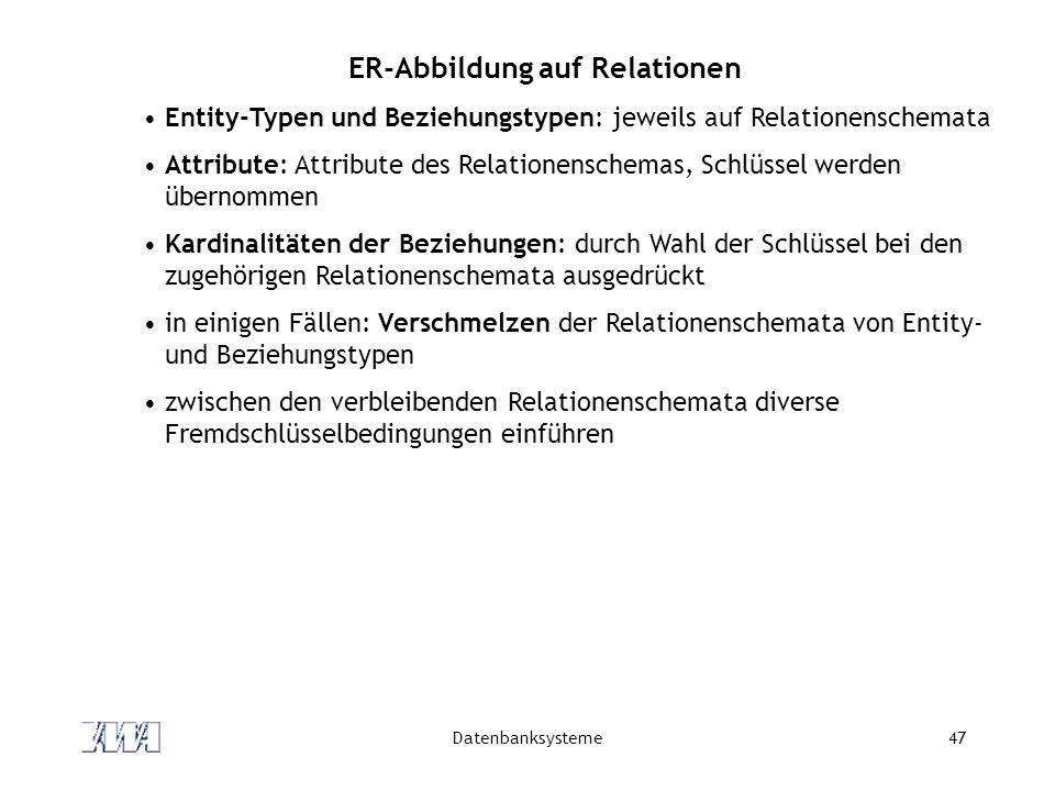 ER-Abbildung auf Relationen