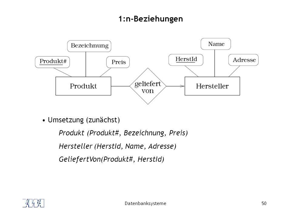 1:n-Beziehungen Umsetzung (zunächst)