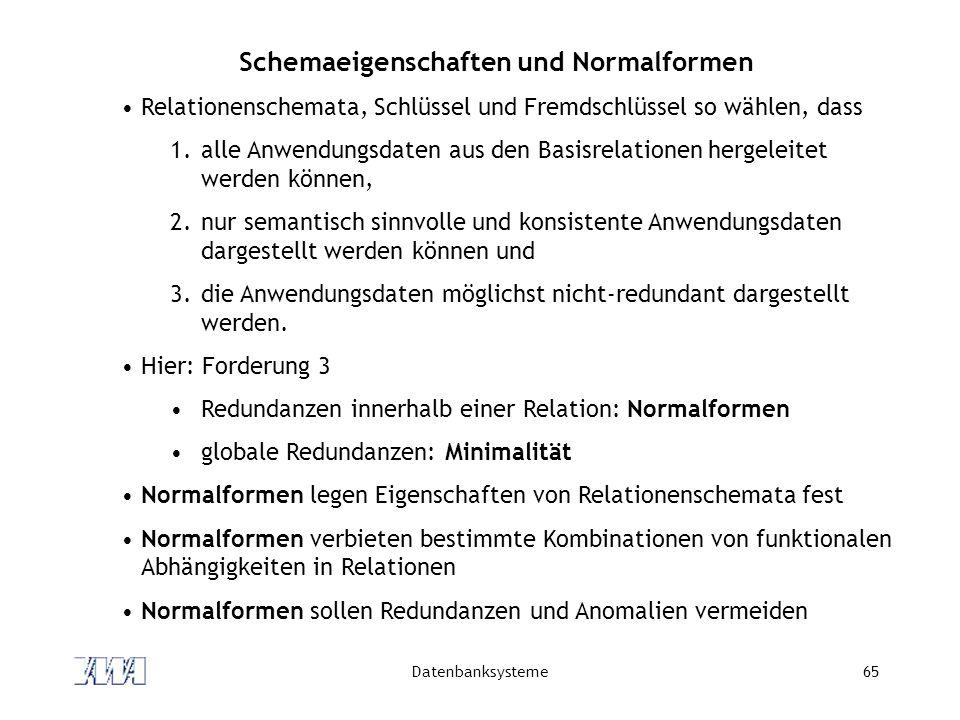Schemaeigenschaften und Normalformen