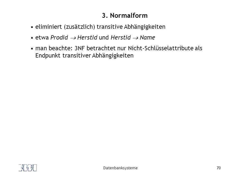 3. Normalform eliminiert (zusätzlich) transitive Abhängigkeiten