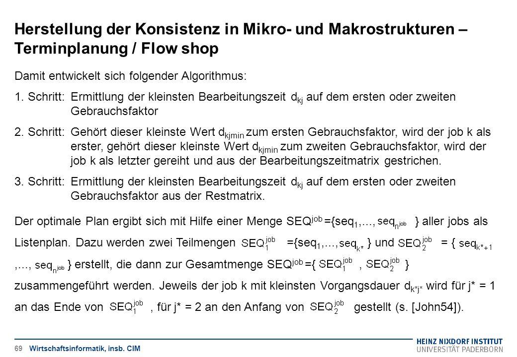 Herstellung der Konsistenz in Mikro- und Makrostrukturen – Terminplanung / Flow shop