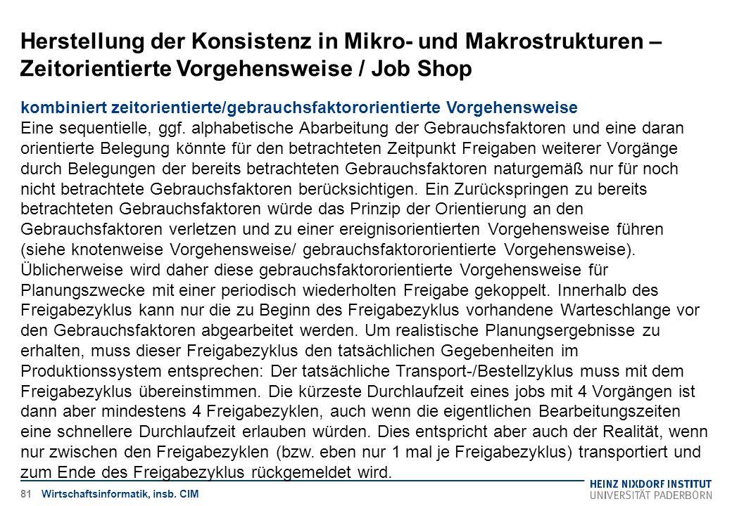 Herstellung der Konsistenz in Mikro- und Makrostrukturen – Zeitorientierte Vorgehensweise / Job Shop