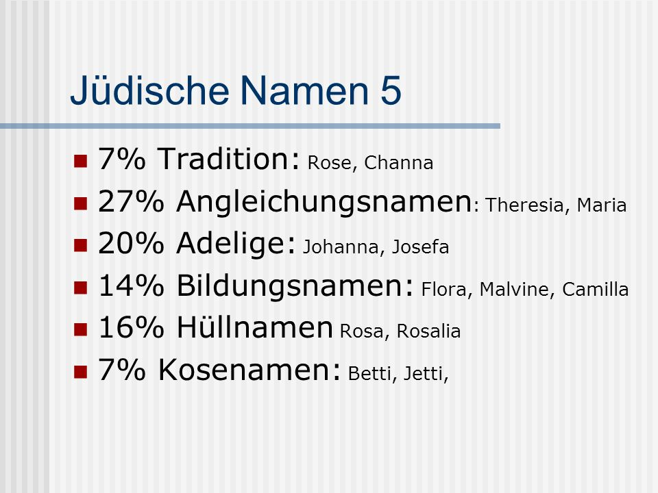 Jüdische Namen 5 7% Tradition: Rose, Channa