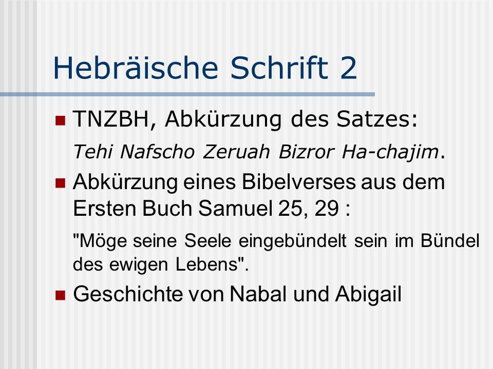Hebräische Schrift 2 TNZBH, Abkürzung des Satzes: