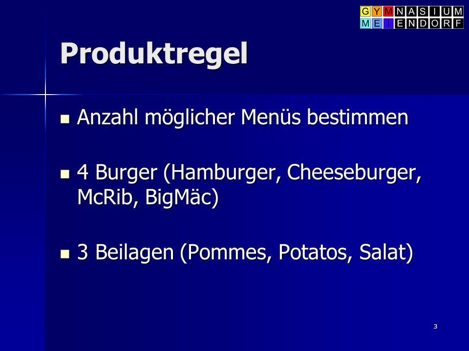 Produktregel Anzahl möglicher Menüs bestimmen