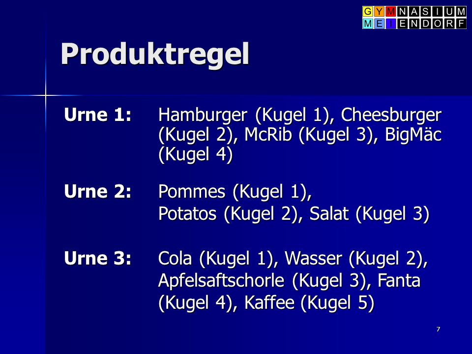 Produktregel Urne 1: Hamburger (Kugel 1), Cheesburger (Kugel 2), McRib (Kugel 3), BigMäc (Kugel 4)
