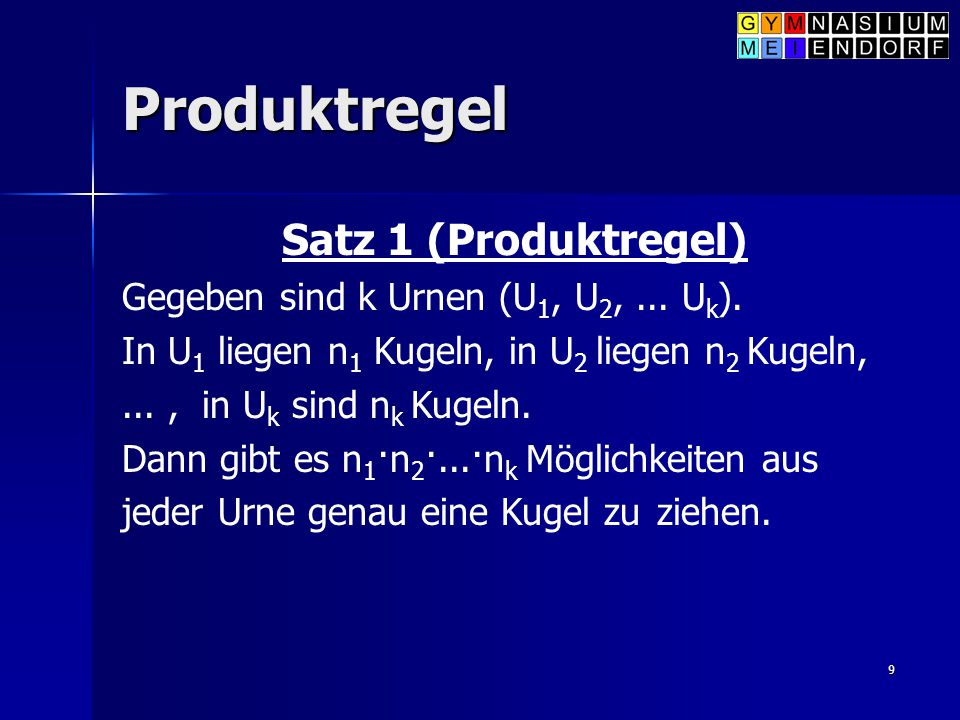 Produktregel Satz 1 (Produktregel)