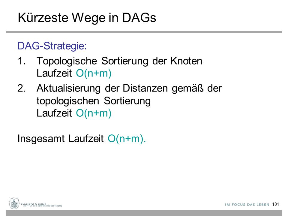 Kürzeste Wege in DAGs DAG-Strategie: