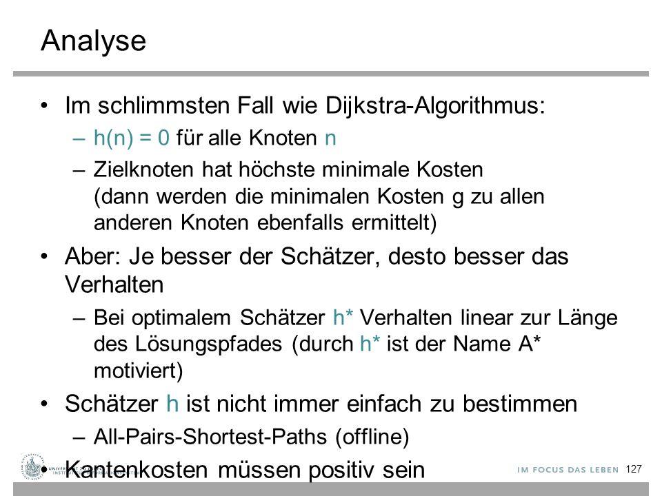 Analyse Im schlimmsten Fall wie Dijkstra-Algorithmus: