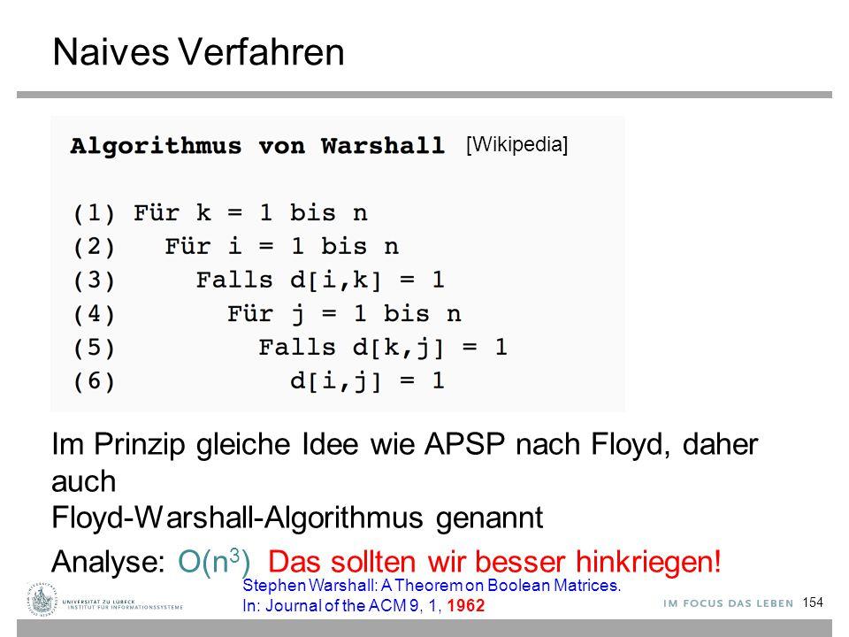 Naives Verfahren Im Prinzip gleiche Idee wie APSP nach Floyd, daher auch Floyd-Warshall-Algorithmus genannt.