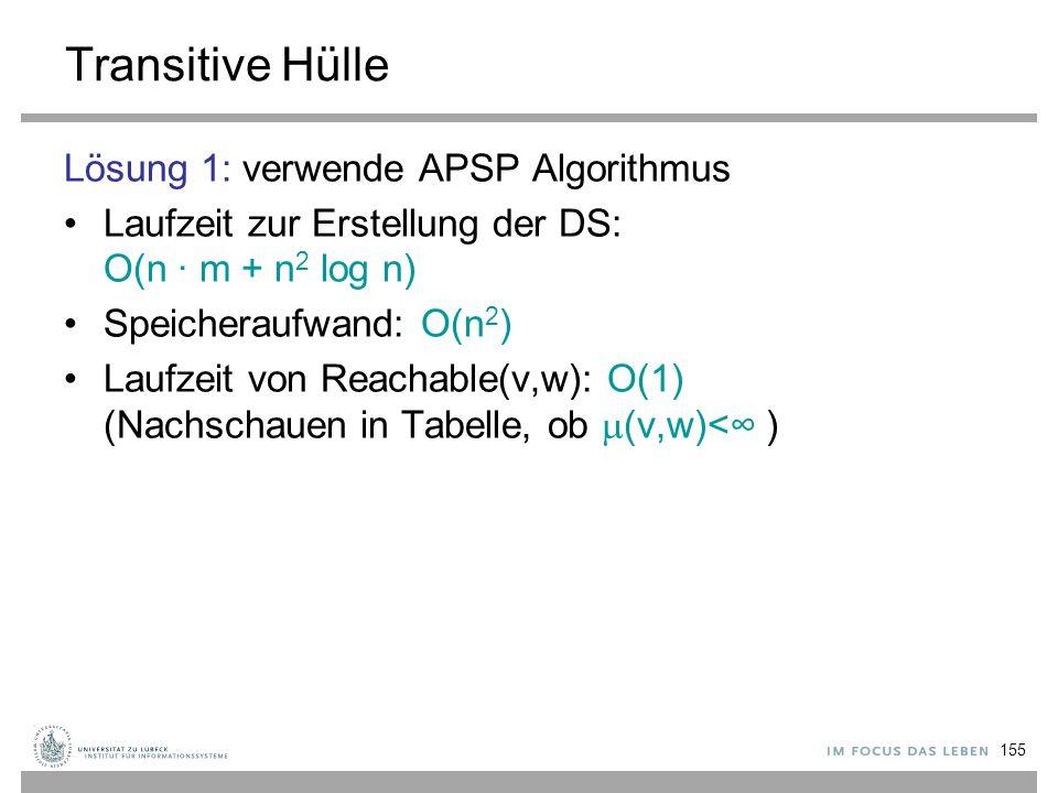 Transitive Hülle Lösung 1: verwende APSP Algorithmus