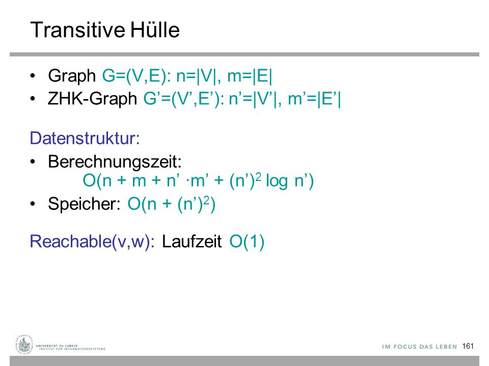 Transitive Hülle Graph G=(V,E): n=|V|, m=|E|