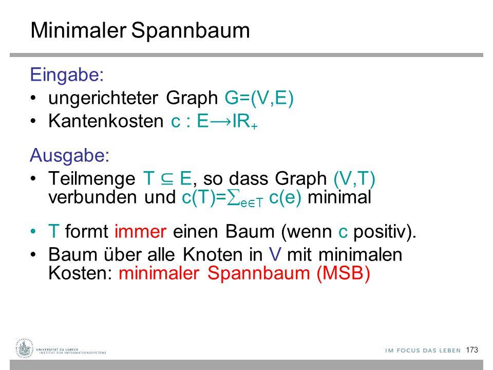 Minimaler Spannbaum Eingabe: ungerichteter Graph G=(V,E)