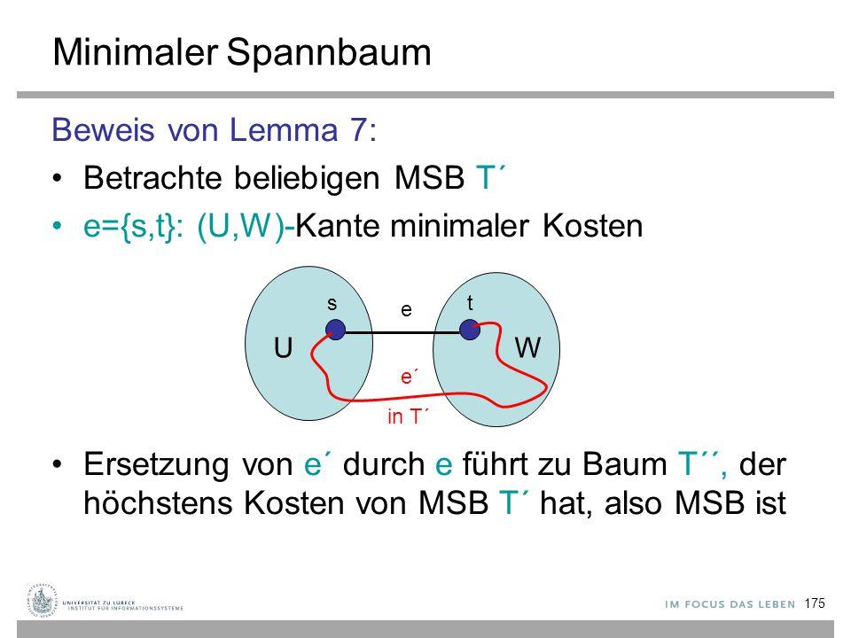 Minimaler Spannbaum Beweis von Lemma 7: Betrachte beliebigen MSB T´