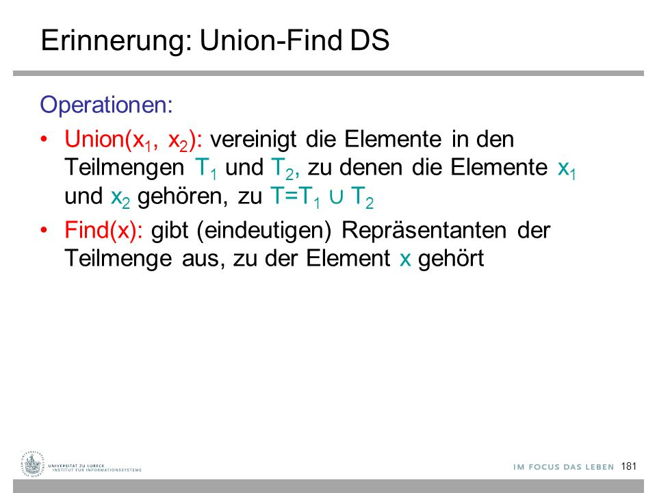 Erinnerung: Union-Find DS