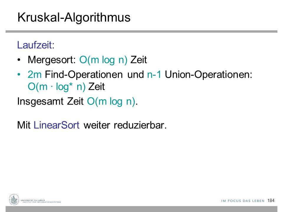Kruskal-Algorithmus Laufzeit: Mergesort: O(m log n) Zeit